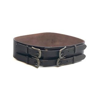 CAbi Accessories - Cabi Wide Leather Belt with Brass Buckles & Rivets